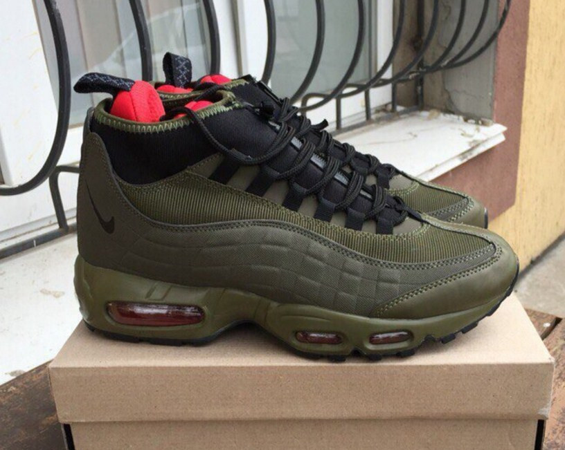 a103d47f Nike Air Max 95 Sneakerboot Green/Khaki | кроссовки мужские; зимние;  высокие; ...