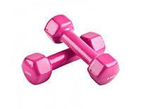 Гантели для фитнеса с виниловым покрытием (2x0,5кг), пара, розовый