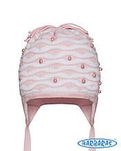 Нежная гламурная шапочка на завязочках для девочек, BARBARAS Польша