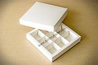 """Картонная коробка для конфет и макаронс """"Белая 14,5*14,5*3 см"""""""