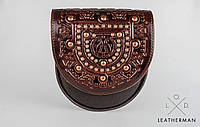Кожаная женская сумка, сумка с металом, мини сумочка, сумка через плечо