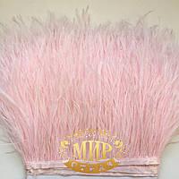 Перья страуса на ленте Цвет Lt Rose  Цена за 0.5м