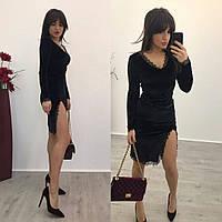 Женское шикарное черное платье с разрезом на ноге