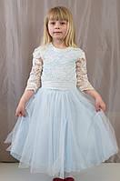 Нарядное пышное гипюровое детское платье для утренника