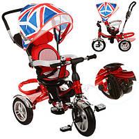 Детский трехколесный велосипед-коляска Turbo Trike М 3114 красный, надувные колеса, свободный ход, тормоз