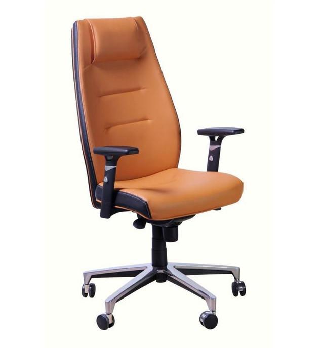 Кресло Элеганс HB цветные боковины Synchro, оранжевый / Неаполь-51 (св.коричн.) боковины задник Неаполь-20 (черный)