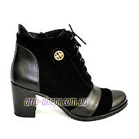 Женские зимние черные ботинки из натуральной замши и кожи, на шнуровке, устойчивый каблук