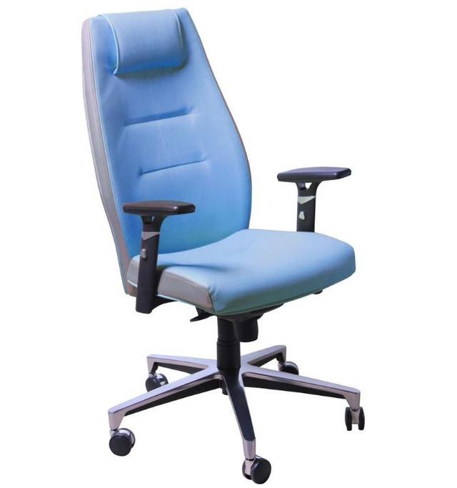 Кресло Элеганс HB цветные боковины Synchro / Неаполь-6 (голубой), боковины задник Неаполь-23 (серый)