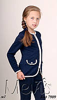 Жакет-пиджак для девочки ТМ Мевис, синий