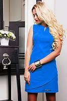 Платье Синтия электрик 42,44 размер женское синее короткое летнее льняное с открытой спиной красивое мини