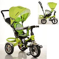Детский трехколесный велосипед-коляска Turbo Trike М 3114 зеленый, надувные колеса, свободный ход, тормоз