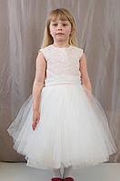 Нарядное пышное бальное гипюровое детское платье для праздника, р.122,128,134