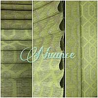 Шторная ткань Лен Геометрия Арго TC 3DX522-9/280LJac Зеленый