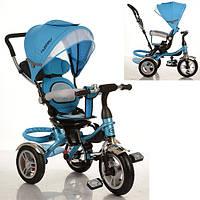 Детский трехколесный велосипед-коляска Turbo Trike М 3114 голубой, надувные колеса, свободный ход, тормоз