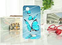 Силиконовый чехол для Lenovo A308t A318t с рисунком три синие бабочки
