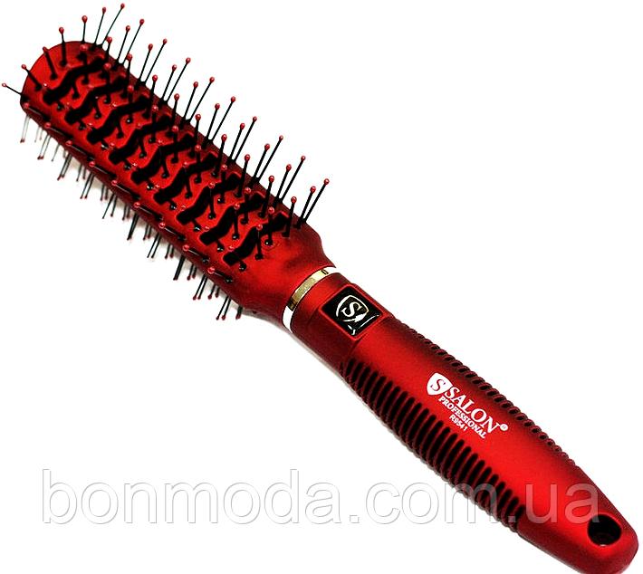 Расческа для волос двухсторонняя SALON Professional 9541 красная
