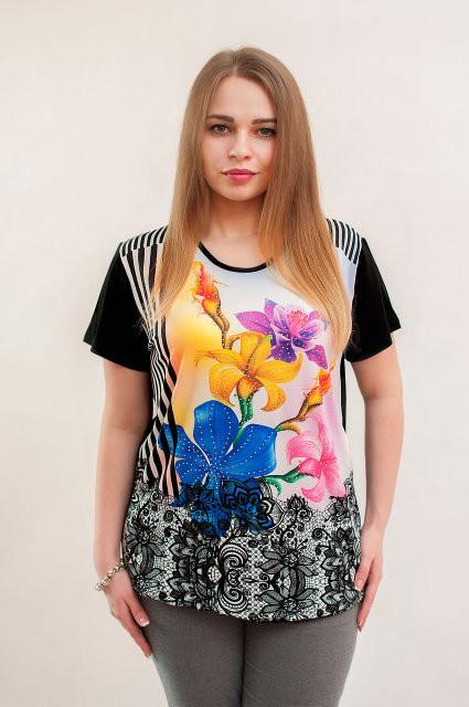 Черно белая футболка с разноцветными цветами. - Купить платье, женская одежда NATALI в Хмельницком