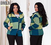 Женская весенняя куртка - пиджак, пплотная вязка, отделака экокожа. Размер 50,52,54,56