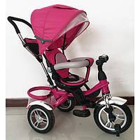 Детский трехколесный велосипед-коляска Turbo Trike М 3114 розовый, надувные колеса, свободный ход, тормоз