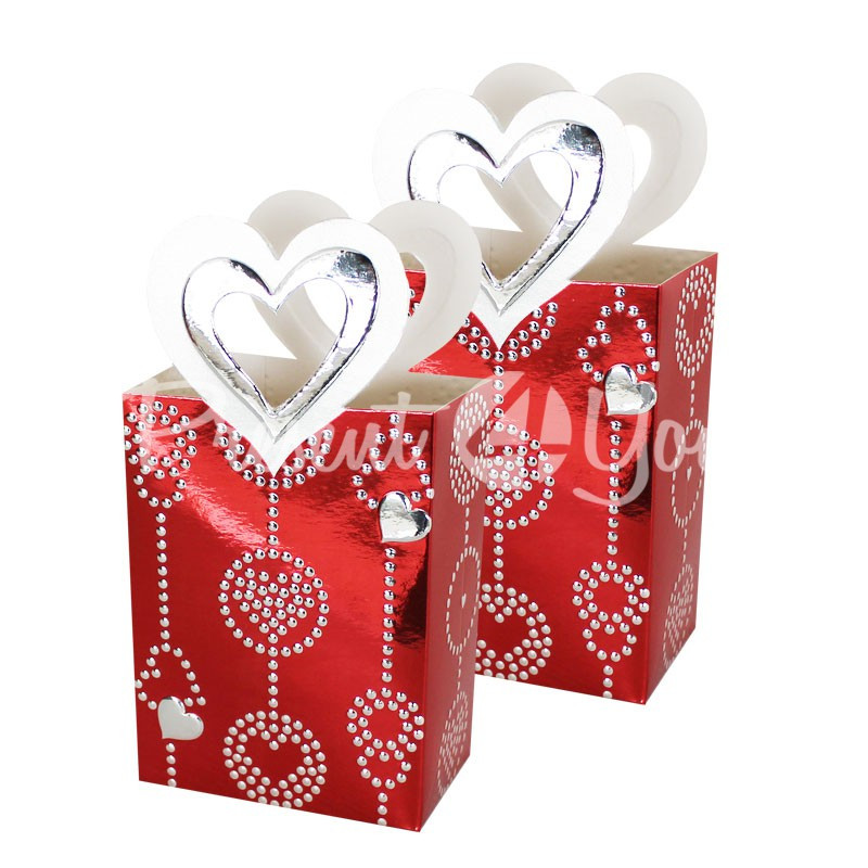 Набор подарочных пакетов «Сердечки», 2 шт., 7,8х5х10,8 см