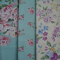 Набор отрезов ткани для пэчворка, цветы на голубом