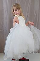 Нарядное пышное бальное фатиново-гипюровое белое платье для девочек, р.122,128,134