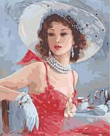 Дама в шляпке, серия Люди, рисование по номерам, 40 х 50 см, Идейка