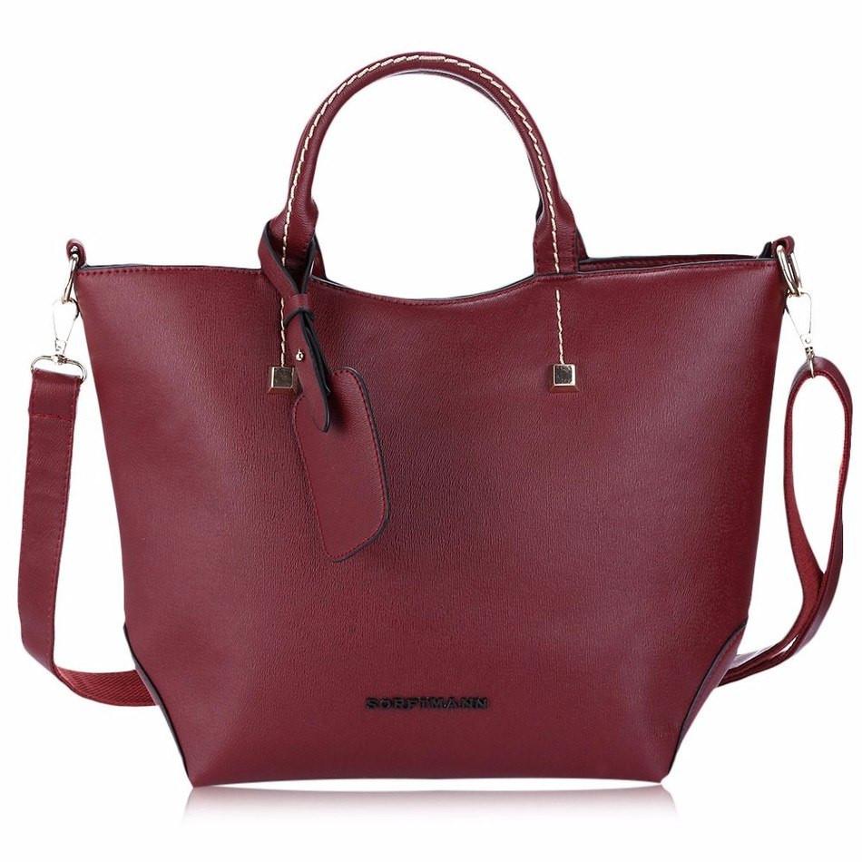 Женская сумка вместительная бордовая