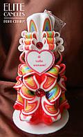 """Резная свеча ручной работы на 8 марта, день Святого Валентина, с надписью """"Я Тебе Кохаю"""""""