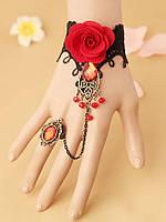 Стильный кружевной браслет с розой и колечком на пальчик