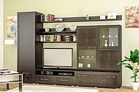 Cтенка Кайман-1 Мебель Сервис 3000х 550х2130 мм темный венге