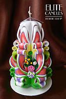 Свеча подарочная ручной работы с цветочками из полимерной глины