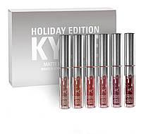 Матовые жидкие помады в наборе 6 цветов Kylie Birthday Edition (silver)