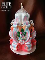 Свеча Нежность. Красивое сочетание нежных розовых цветов, и декора из полимерной глины