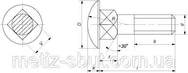чертеж Болт мебельный  DIN 603 к.п. 4.8,5.8 ГОСТ 7802--81