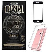 Чехол с защитным стеклом для iPhone 7 - REMAX Crystal Set, черный