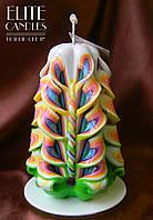 Нежная резная свеча. Особая форма узора, радужные цвета. Хороший выбор на подарок