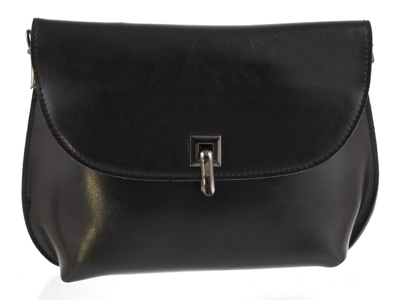Стильная небольшая женская кожаная сумка высокого качества с масляной кожи art. 882 черный