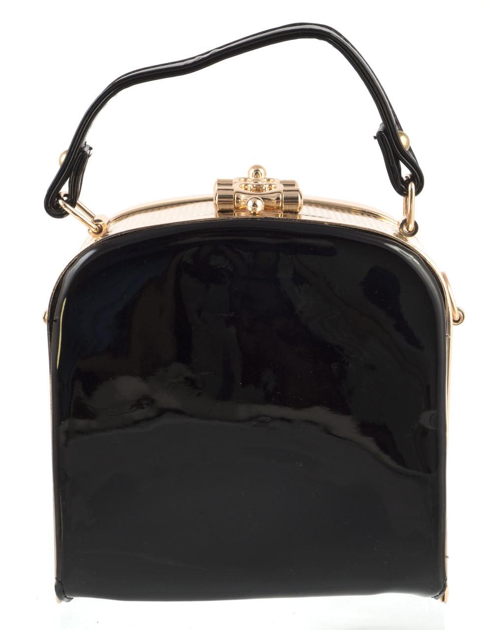 Стильная небольшой женский лаковый клатч сумка с золотыми вставками SULIYA art. 9251 черный