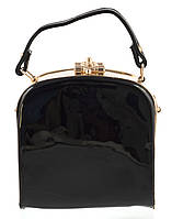 Стильная небольшой женский лаковый клатч сумка с золотыми вставками SULIYA art. 9251 черный, фото 1