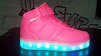 Брендовые кроссовки LED c светящей подошвой и подзарядкой(12 режимов) (разм. с 32 по 34) Розница
