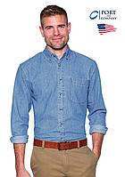 Американская джинсовая рубашка Port & Cо® SP10 Faded Blue, 100% хлопок, мужская с длинным рукавом
