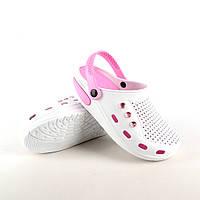 Женская обувь для бассейна белого цвета из ЭВА с розовой стелькой