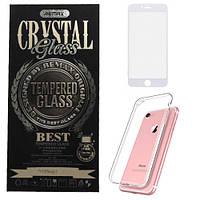 Чехол с защитным стеклом для iPhone 7 - REMAX Crystal Set, белый