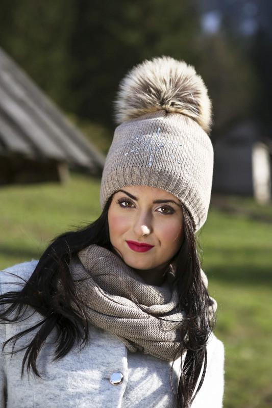 Теплая вязаная шапочка для девочки подростка ACHTI Польша