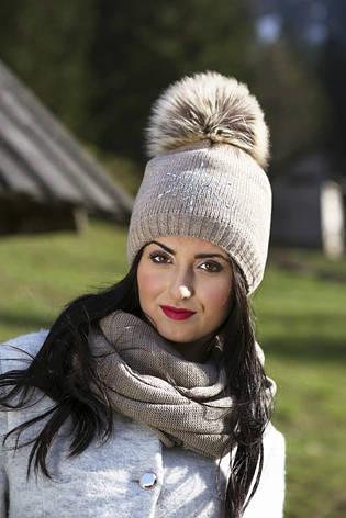 Теплая вязаная шапочка для девочки подростка ACHTI Польша, фото 2