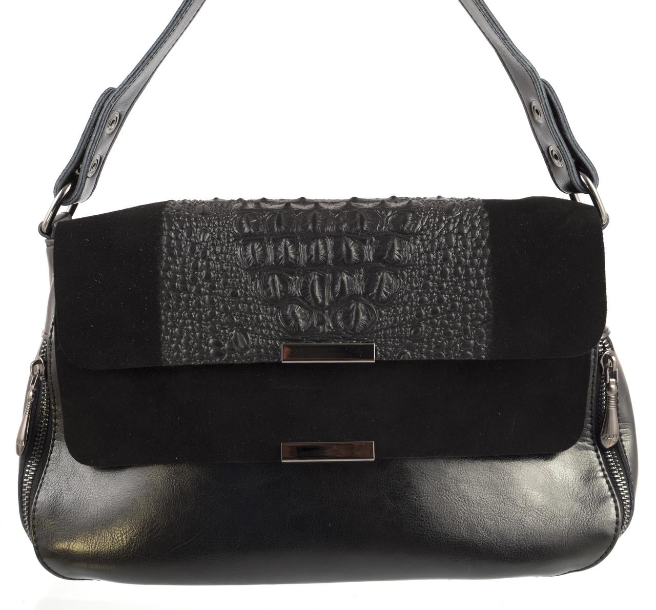 Стильная женская кожаная сумка высокого качества с кожи с замшевым клапаном SOLANA art. 0856 черная