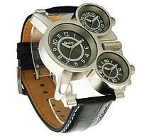 Мужские наручные часы OULM с кожаным ремешком: хронограф