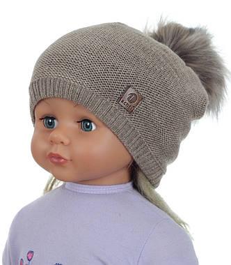 Женская теплая вязаная шапка с помпоном ACHTI Польша, фото 2