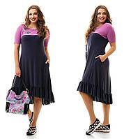 Женское повседневное трикотажное платье больших размеров №865 48-62 р